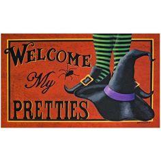 Welcome My Pretties Halloween Door Mat Holiday festive Trick or Treat Home Decor