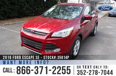 2016 Ford Escape SE - Sport Utility Vehicle - 1.6L Ecoboost Engine - Keypad Door Lock - Alloy Wheels - Spoiler - Tinted Windows - Fog Lights - Safety Airbags - Dual Exhaust - Powered Windows/Locks/Mirrors/Driver Seat - Seats 5 - AM/FM/CD/SIRIUS Satellite - USB Port - Bluetooth - SYNC by Microsoft - Backup Camera - Cruise Control and more!