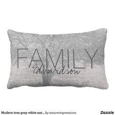 Modern tree gray white nature Family monogram name Lumbar Pillow