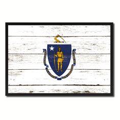 Massachusetts Flag Canvas Print, Picture Frame Gift Ideas Home Décor Wall Art Decoration