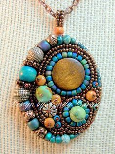 """Way Out West"" Pendant by Cindy Caraway - jewelry, bead embroidery"