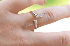 Split Clear Crystal Ring in Solid 925 Sterling SIlver