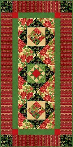 Elegant fabric from @Quilting Treasures and classic quilt blocks come together to create a holiday table runner everyone will be talking about.