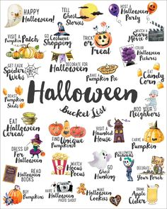 We've combined our favorite ideas into this FREE Fall Bucket List which you can print & hang up wherever will best remind you of all the fun Fall activities Halloween Bucket List, Halloween Buckets, Halloween Tags, Halloween Pictures, Holidays Halloween, Halloween Crafts, Happy Halloween, Halloween Decorations, Halloween Ghosts