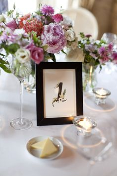beautiful flower table number