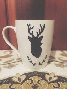 deer head hand painted coffee/latte mug on Etsy, $9.00