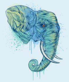 """Elephant Portrait  by Rachel Caldwell   Art Print / MINI (8"""" x 9"""")"""