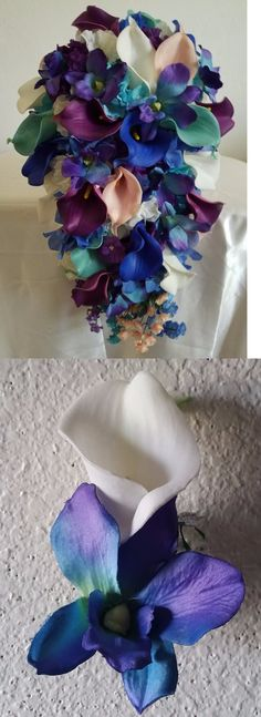 Flowers Petals and Garlands 20938: Calla Lily Orchid Hydrangea Bridal Wedding Bouquet And Boutonniere -> BUY IT NOW ONLY: $149.99 on eBay!