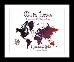 Love crosses ocean long distance relationship, valentines day gift, custom map, unique anniversary, gift for boyfriend girlfriend couple