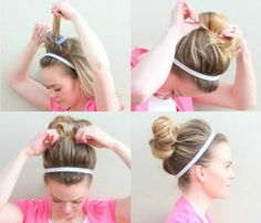 10 Easy Summer Hair Styles: Headband Top Knot. To get the look start w curled hair or strands w texture (try sea salt spray to add a 'lil oomph).