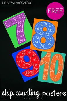 When I shared skip counting posters for the numbers 2 to 6 a little while back, many of you asked for the next four numbers in the series: 7 to 10. Wish granted! The posters are great to use during whole class instruction or as a helpful reminder to display on the wall as kids build number sense, learn how to quickly count on from