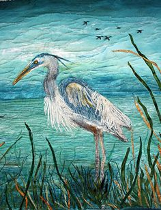 Hand painted art quilt blue herons NEXT by BarbaraHarmsFiberArt. This is absolutely gorgeous!!