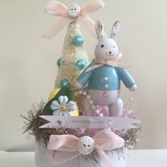 Shabby Chic Cottage Style Vintage Wooden Easter Bunny Centerpiece Decoration with Glittered Bottle Brush Tree, Easter Egg, Compote Dish by OliveandTrixie on Etsy