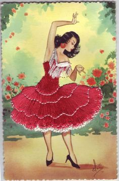 Embroidered Postcards from 1950s