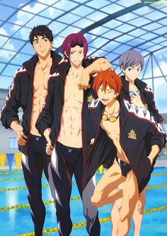 "artbooksnat: "" New Free! Eternal Summer poster with the Samezuka boys in Animage Magazine (10/2014) illustrated by animation director Shoko Ikeda (池田晶子). """