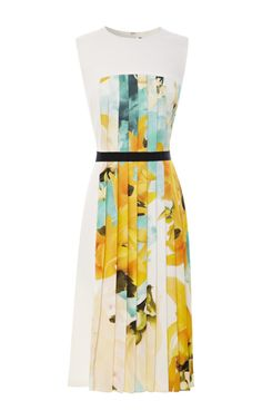 Sleeveless Twill Dress With Printed Pleated Inset by Bibhu Mohapatra