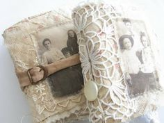 Vintage lace covered journals from tinybear-dk.blogspot.co.uk