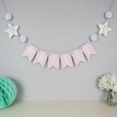 Super baby girl nursery pink and grey diy pom poms Ideas Pink Bunting, Name Bunting, Nursery Bunting, Star Nursery, Nursery Letters, Baby Girl Nursery Pink And Grey, Baby Shower Decorations, Girls Bedroom, Baby Room
