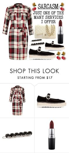 """""""Sarcasm....just one of the many services I offer"""" by queenrachietemplateaddict ❤ liked on Polyvore featuring River Island, Marc by Marc Jacobs, L. Erickson, Humör, MAC Cosmetics, Chanel, espadrilles, quote, redandblack and checkereddress"""