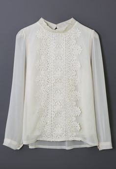 Floral Lace Panel Beige Chiffon Shirt
