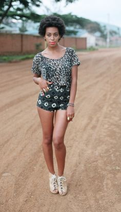 Solange in Chloe Sevigny x Opening Ceremony shorts from their Spring 2011 collection. Luv her