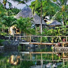 Voted ninth in the world by Islands Magazine, this rental is one you need to see to believe. Shangri-La is made up of multiple Bali-style structures that sit on a lagoon, allowing you so swim, snorkel, and bathe right outside your door.