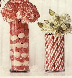 fill jar/vase with red and white candy and candy canes