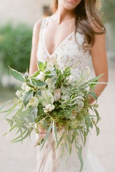 40 Greenery Wedding Ideas Without a Flower In Sight - WeddingWire Greenery Centerpiece, Greenery Wreath, Wedding Centerpieces, Wedding Bouquets, Wedding Gowns, Wreaths, Wedding Trends, Wedding Styles, Wedding Ideas