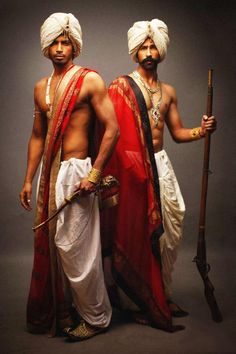 Dhoti and turban, Indian traditional men's style.