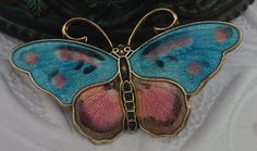 Vintage Hroar Prydz Butterfly Pin Enamel Guilloche Brooch on Etsy, $239.00