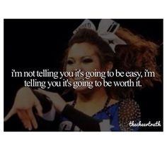 cheerleading quotes, inspiring, motivational, sayings, be easy Cheer Coaches, Cheer Stunts, Cheer Dance, Cheer Qoutes, Cheerleading Quotes, Competitive Cheerleading, Cheer Sayings, All Star Cheer, Cheer Mom