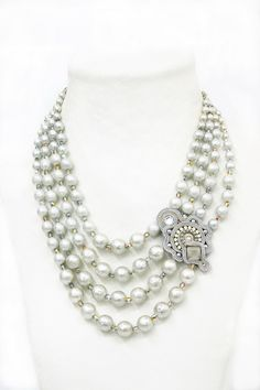 GOT-N155, gotn155, bridal necklace, pearl necklace, silver necklace
