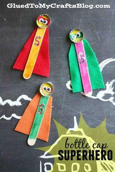 Bottle Cap Superhero - Kid Craft Idea