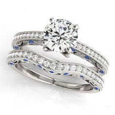 14k White Gold Over Diamond & Sapphire Round Cut Sterling Silver Bridal Ring Set #tvsjewelery