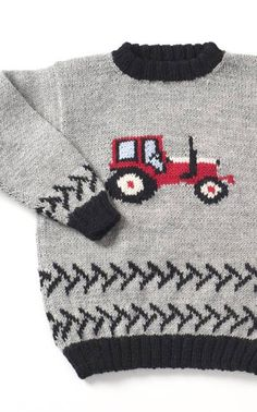 Traktorineule (in Finnish with chart) Animal Knitting Patterns, Baby Cardigan Knitting Pattern, Baby Boy Knitting, Knitting For Kids, Easy Knitting, Easy Crochet Patterns, Knit Baby Sweaters, Toddler Sweater, Crochet Patron