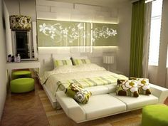 Modern bedroom sets with stylish tableau drawings on wall behind bed