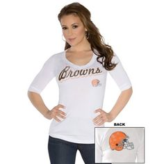 Touch by Alyssa Milano Cleveland Browns Ladies End Line Slim Fit V-Neck T-Shirt - White