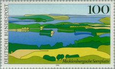 Mecklenburg lakeland (Views from Germany) German Stamps, Postage Stamps, Poster, History, Beautiful, Federal, Germany, Pictures, Paisajes
