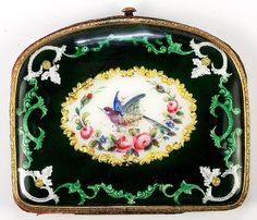 Antique French Kiln Fired Enamel Coin Purse Florals and Exotic Bird | eBay