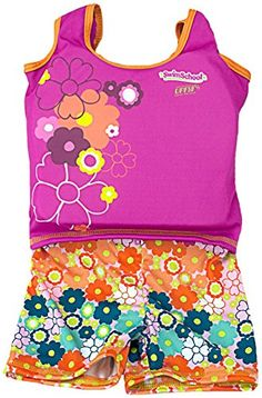 Aqua Leisure ET9136L Girls 1 pc swim trainer floral print shorts printed top with back zipper  L Toy ** You can get additional details at the image link.Note:It is affiliate link to Amazon.