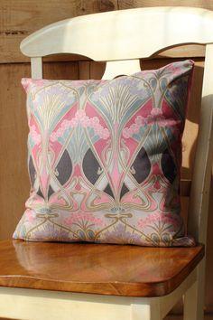 Navy and Aqua Liberty of London Fabric Cushion Covers  /'Ianthe/' Grey