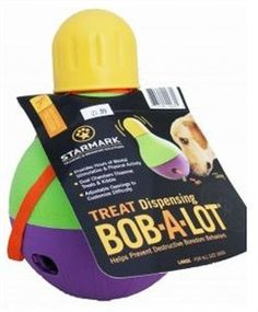 "StarMark Bob-A-Lot – Starmark Mental Stimulation toys help keep pets mentally engaged in an activity they enjoy. They help foster natural hunting and foraging behaviors, and help prevent destructive boredom behaviors. These items can be used with portions from your dog's regular meal to turn mealtime into playtime. The Bob-A-Lot exercises and feeds your dog at the same time! ""Like"" or ""Pin"" this and use discount code ""Pin5"" for 5% off."