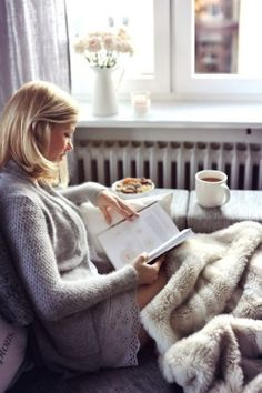 Reading on a cold day.