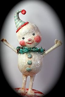 Paper clay snowman made by Strawberry Road Paper Mache Clay, Paper Mache Crafts, All Things Christmas, Christmas Time, Winter Christmas, Xmas, Christmas Snowman, Christmas Ornaments, Snowman Crafts