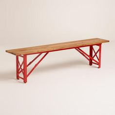 Foldable benches to match the folding tables - genius!  Red Beer Garden Dining Bench from World Market