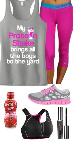 """Who says your #Workout Clothes have to be boring? Cool #GymGear board featuring Gray & pink """"My Protein Shake brings all the boys to the yard"""" by #NoBullWomanApparel. $24.99 Click here to buy www.etsy.com/listing/165938972/my-protein-shake-workout-tank-top?ref=shop_home_active_12"""