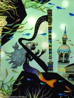 Mermaid playing a harp by by seiji fujishiro Shadow Pictures, Art Pictures, Music Illustration, Illustrations, Elves And Fairies, Your Spirit Animal, Black Angels, Ariel The Little Mermaid, Japanese Artists