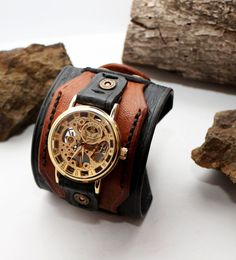 Leather Cuff Watch, Men's Wide Layered, Satin Black and Saddle Tan, Leather Cuff, Steampunk Mechanical Watch Face