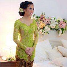 No photo description available. Vera Kebaya, Kebaya Hijab, Kebaya Brokat, Dress Brokat, Kebaya Dress, Batik Kebaya, Kebaya Wedding, Disney Wedding Dresses, Pakistani Wedding Dresses