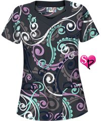 UA Cartwheels Grey Stone Square V-Neck Print Scrub Top Style #  UA649CWG